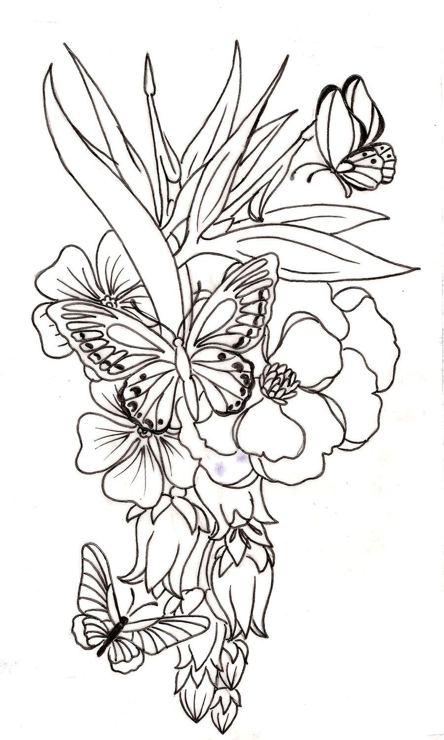 Samurai skull colouring pages page 2 - Butterfly And Flower Tattoo By Metacharis On Deviantart