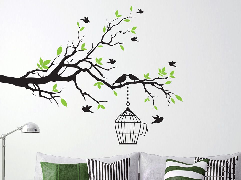 Tree Branch With Bird Cage Wall Sticker For Living Area Tree