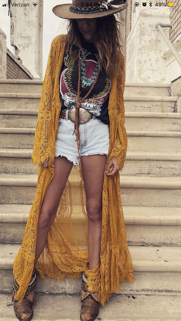 Boho Sommer lange Spitze Jacke Hut #outfitswithhats
