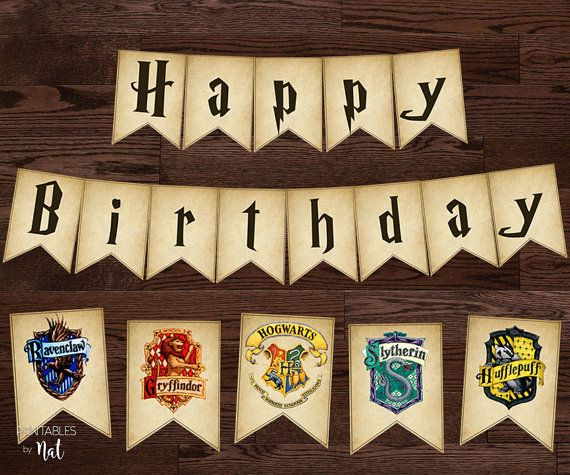 harry potter happy birthday sign banner bunting flags