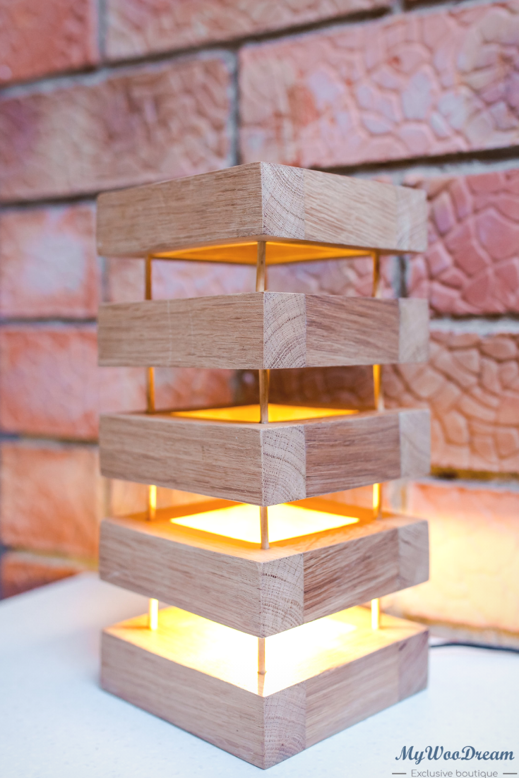 medina lampe en bois verticale