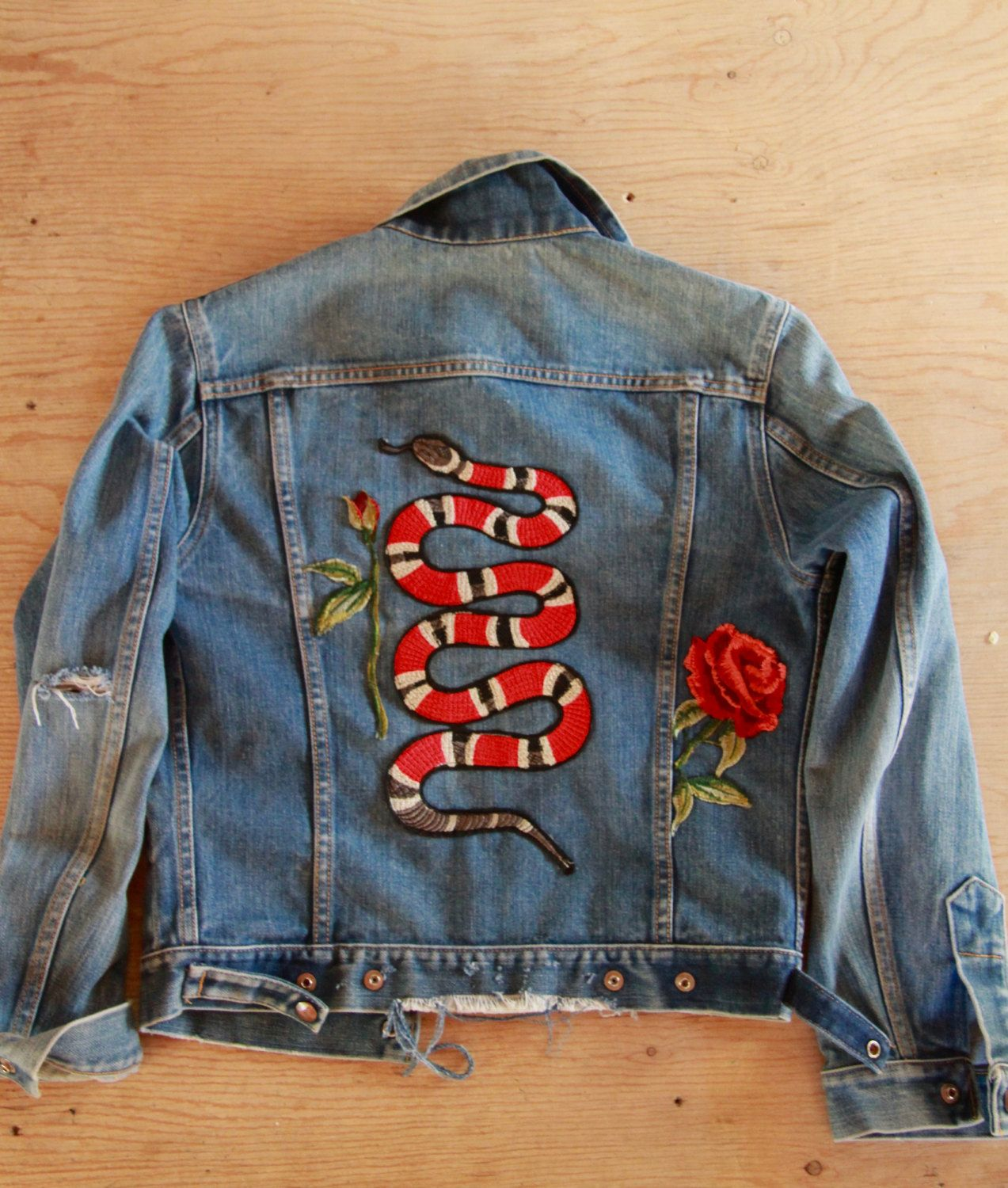 18e6e0d21f8 Vintage GWG Denim Gucci-esque Shredded Faded Snake Rose Patch Jacket by  KUCHII on Etsy