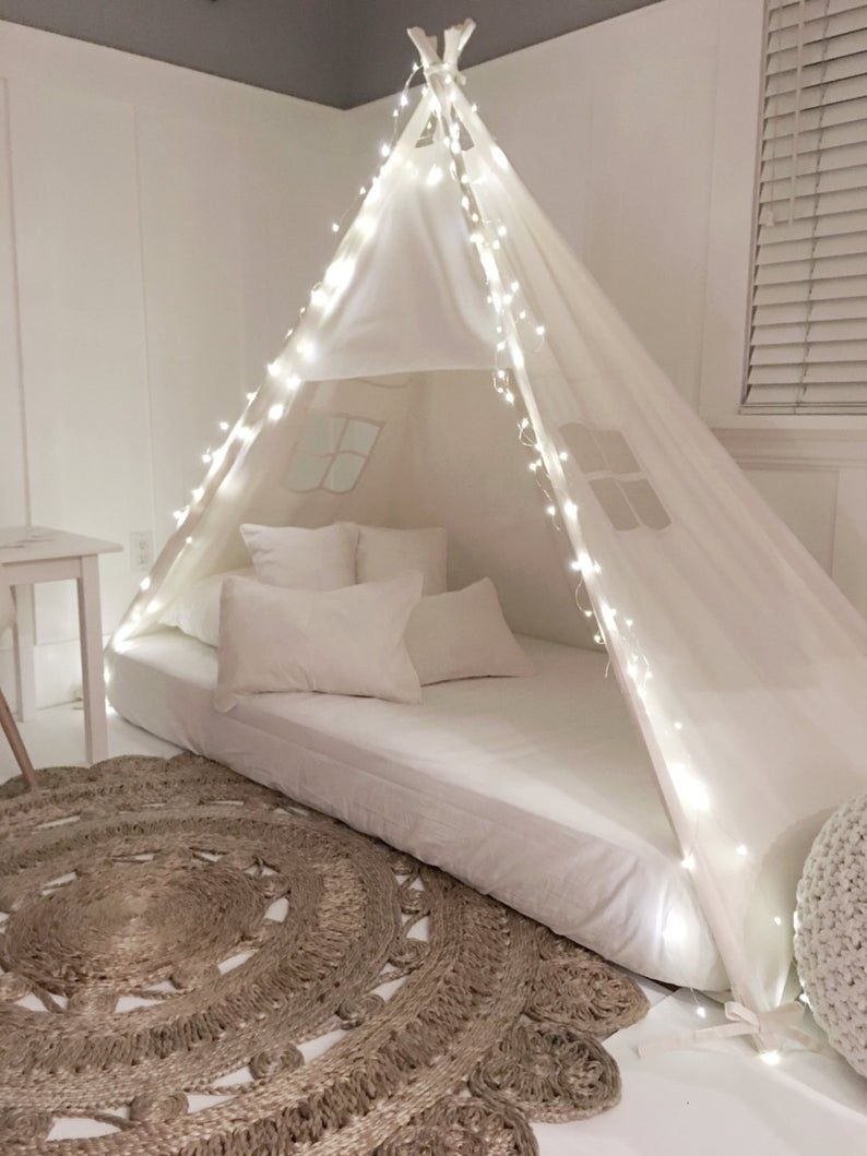 Play Tent Canopy Bed in Cream Canvas - Twin