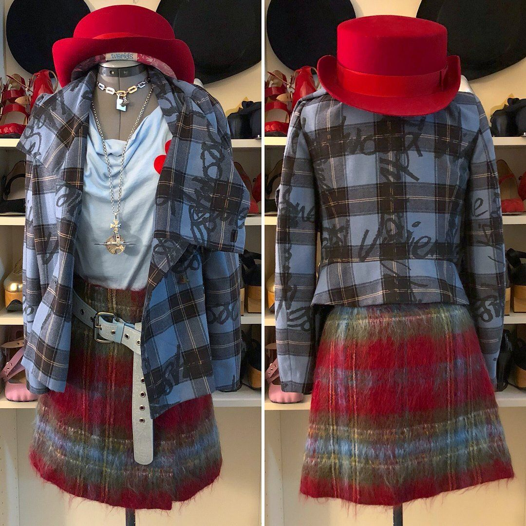 Red Label - 2006 - Signature Tartan Jacket - Blue Paired with Lochcarron  Mohair Skirt and Worlds End John Bull Hat 55fc4fe10362