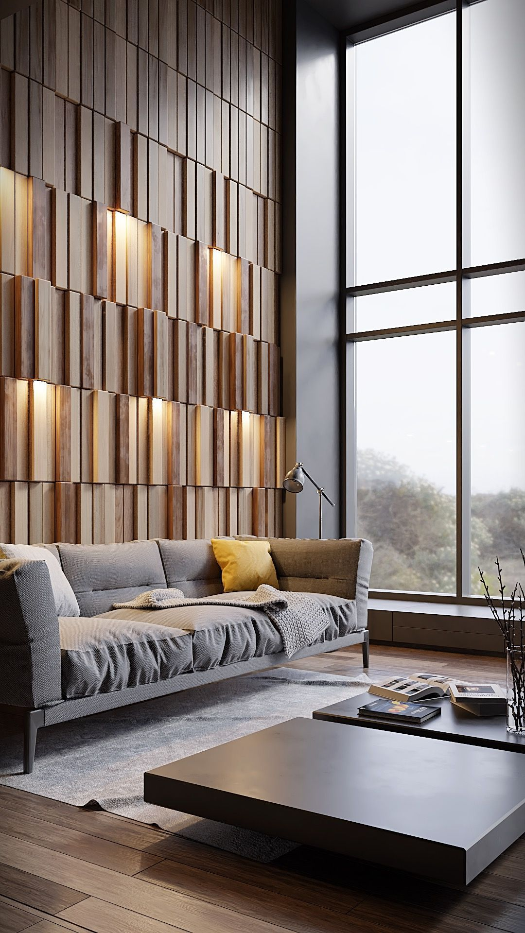 Conceptual Design Of Living Room Wall With 440 Wooden Slats