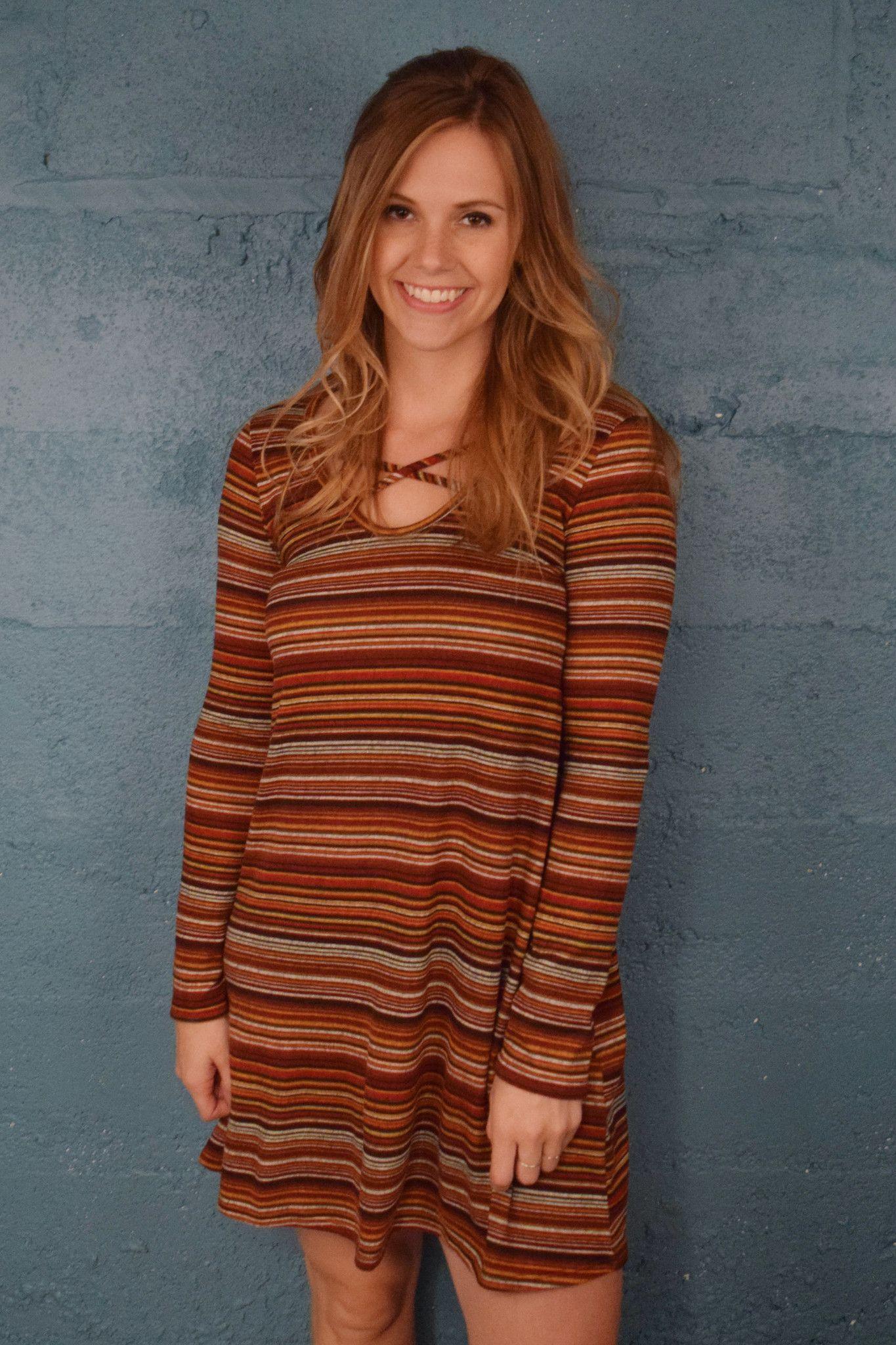 Fall favorite striped dress rust rust dress striped