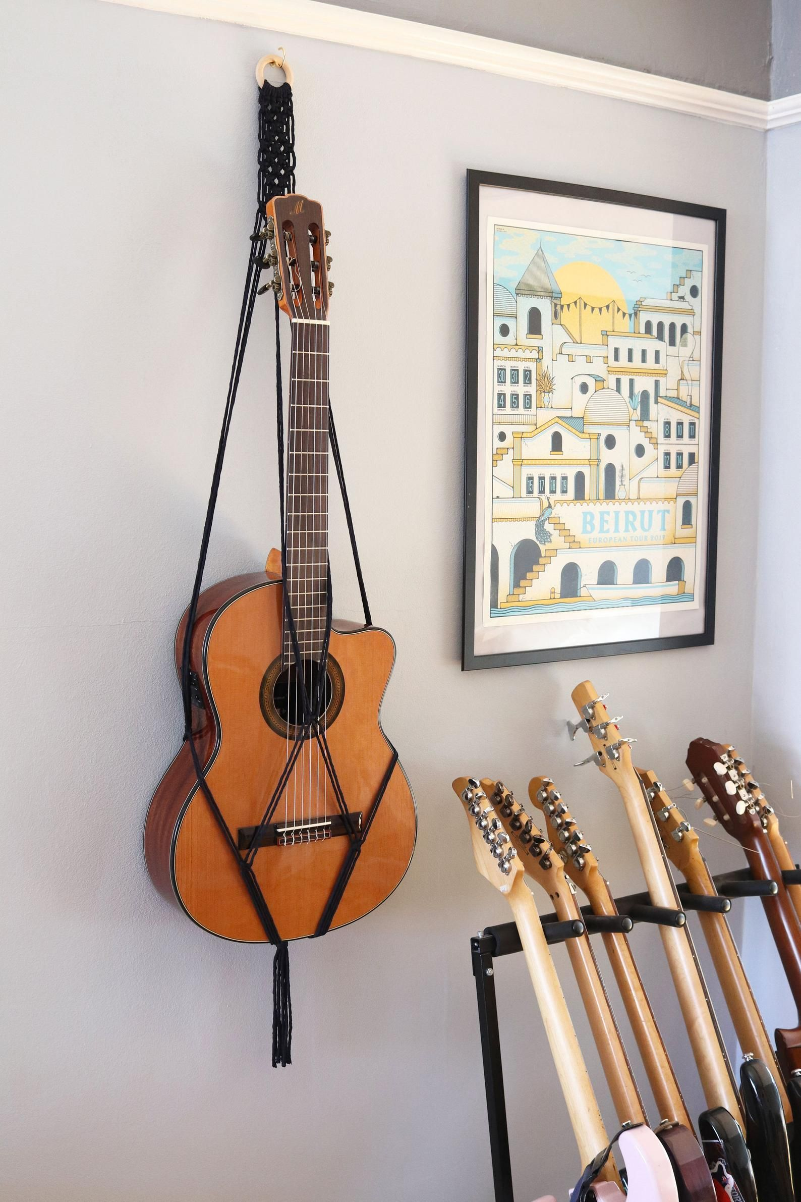 Macrame Acoustic Guitar Stand Wall Decor Wall Mount 100 Etsy Guitar Stand Wall Macrame Wall Hanging Diy Guitar Stand