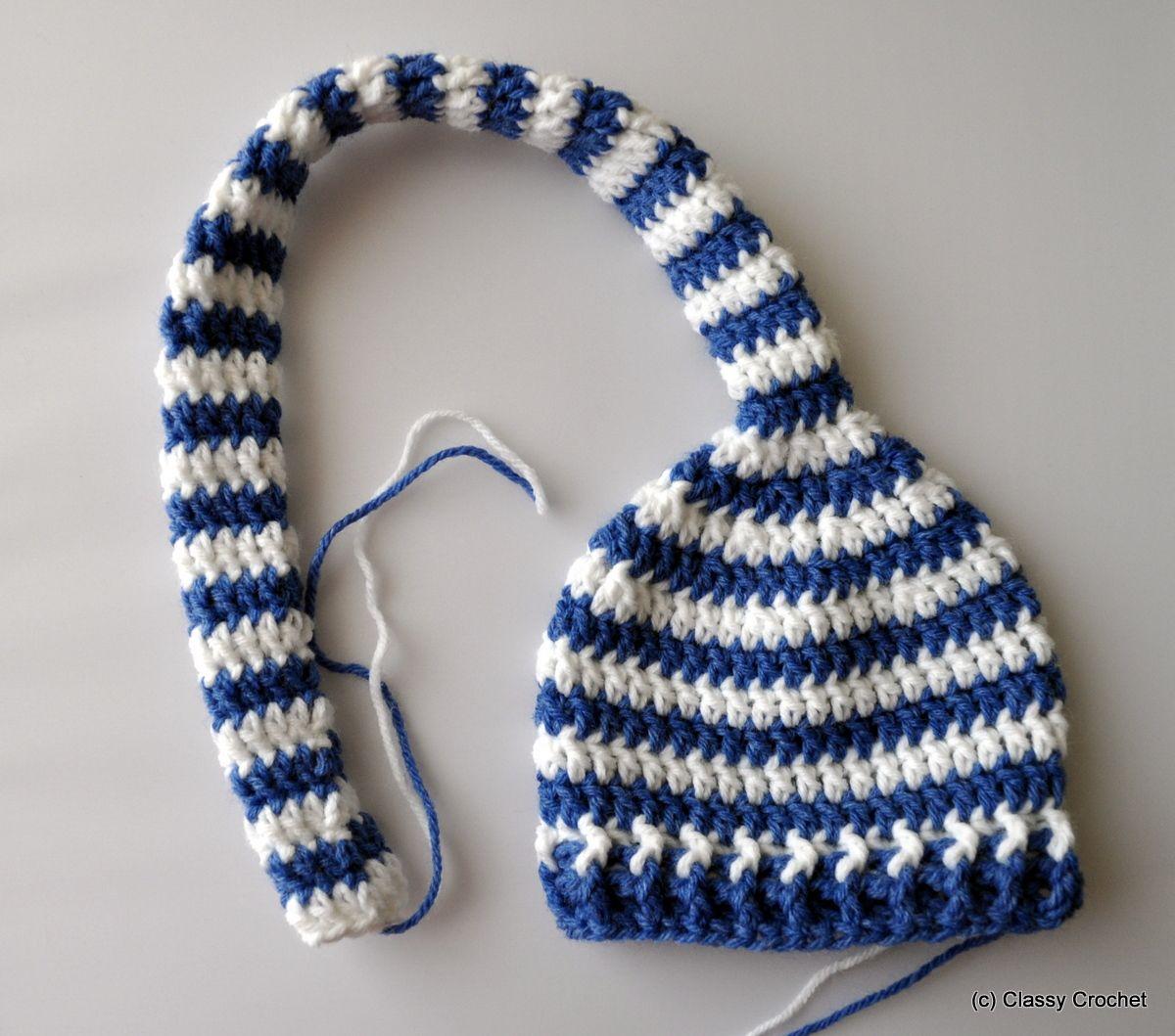 Free Pattern: Crochet Elf Striped Pixie Hat | Elf hat, Holi and Free ...