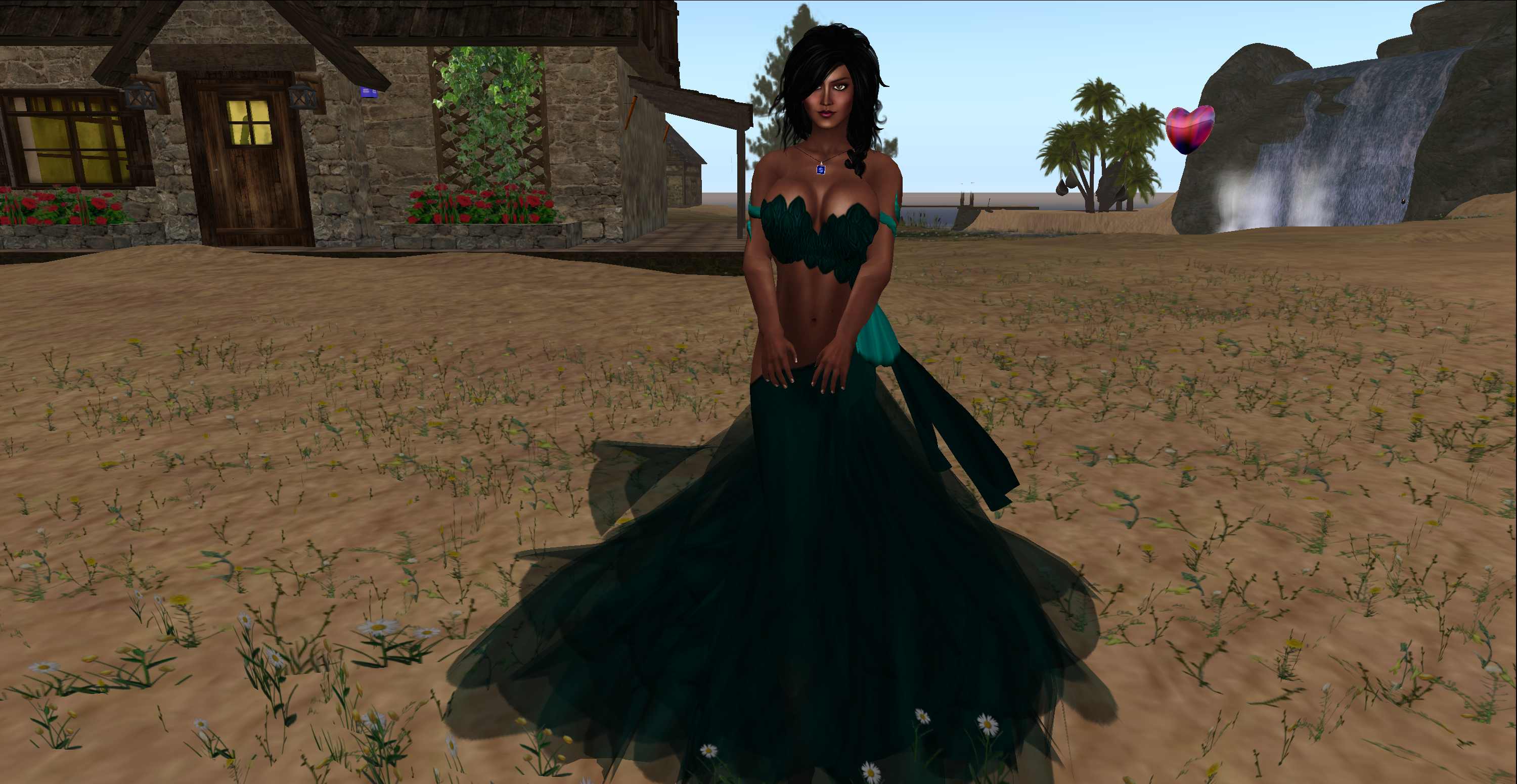 A lovely green dress I got on Sl. It's beautiful and a little risque and I love it.