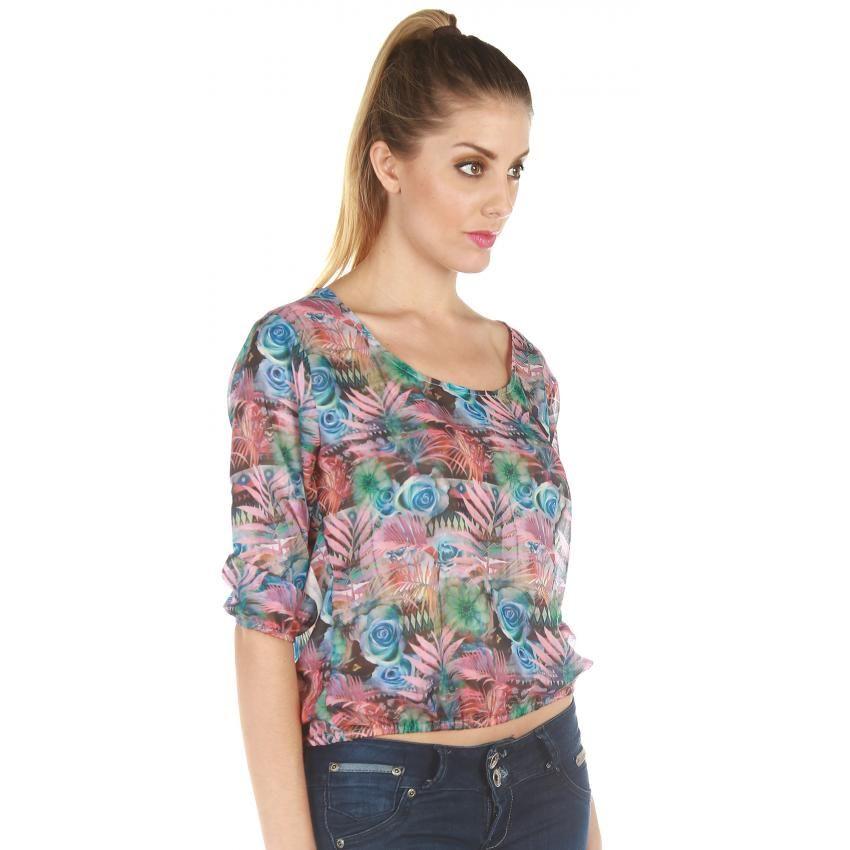 Compra GIGI RIVA - Blusa Mujer Recogida con flores - Multicolor online ✓ Encuentra los mejores productos Blusas Mujer GIGI RIVA en Linio Perú ✓