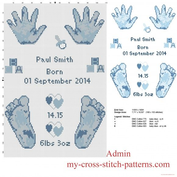 Cross stitch pattern birth record male baby feet and hands prints