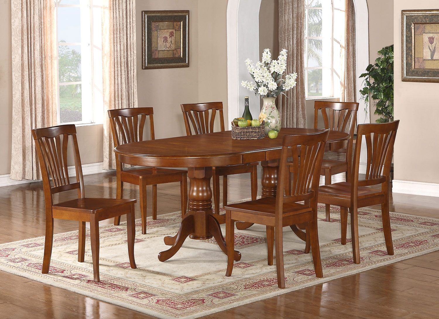 Kitchen Table With Leaf And 6 Chairs Oval Dining Room Table