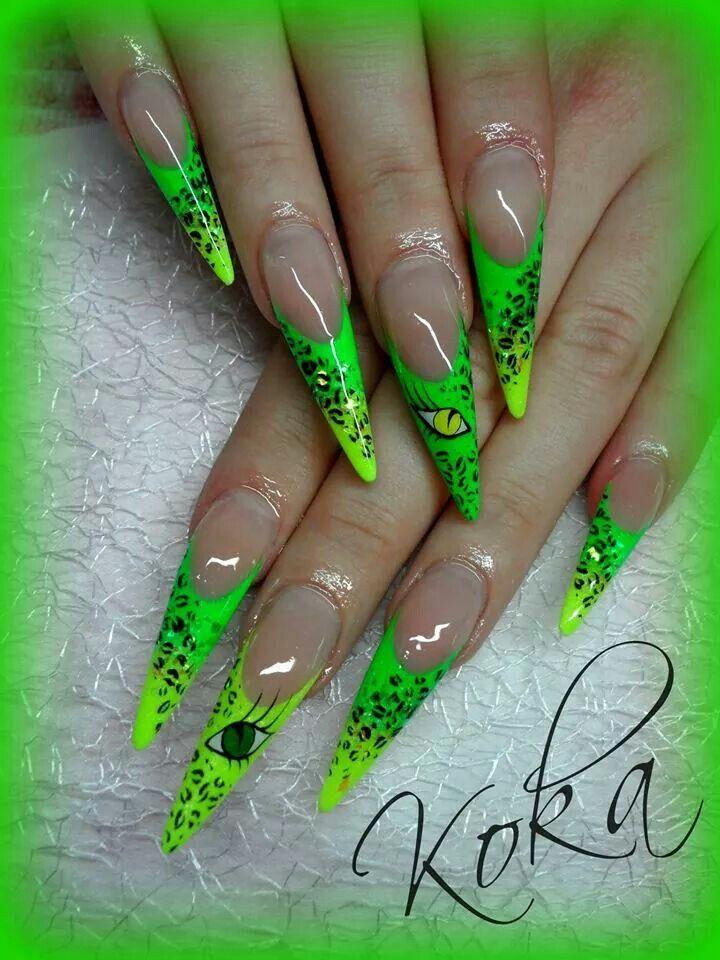 Neon nails | Unghia leopardate-zebrate | Pinterest | Diseños de uñas ...