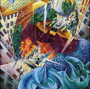 Moderne Kunstwerke der futurismus moderne kunst spiegelbeeld kleurrijk interessant