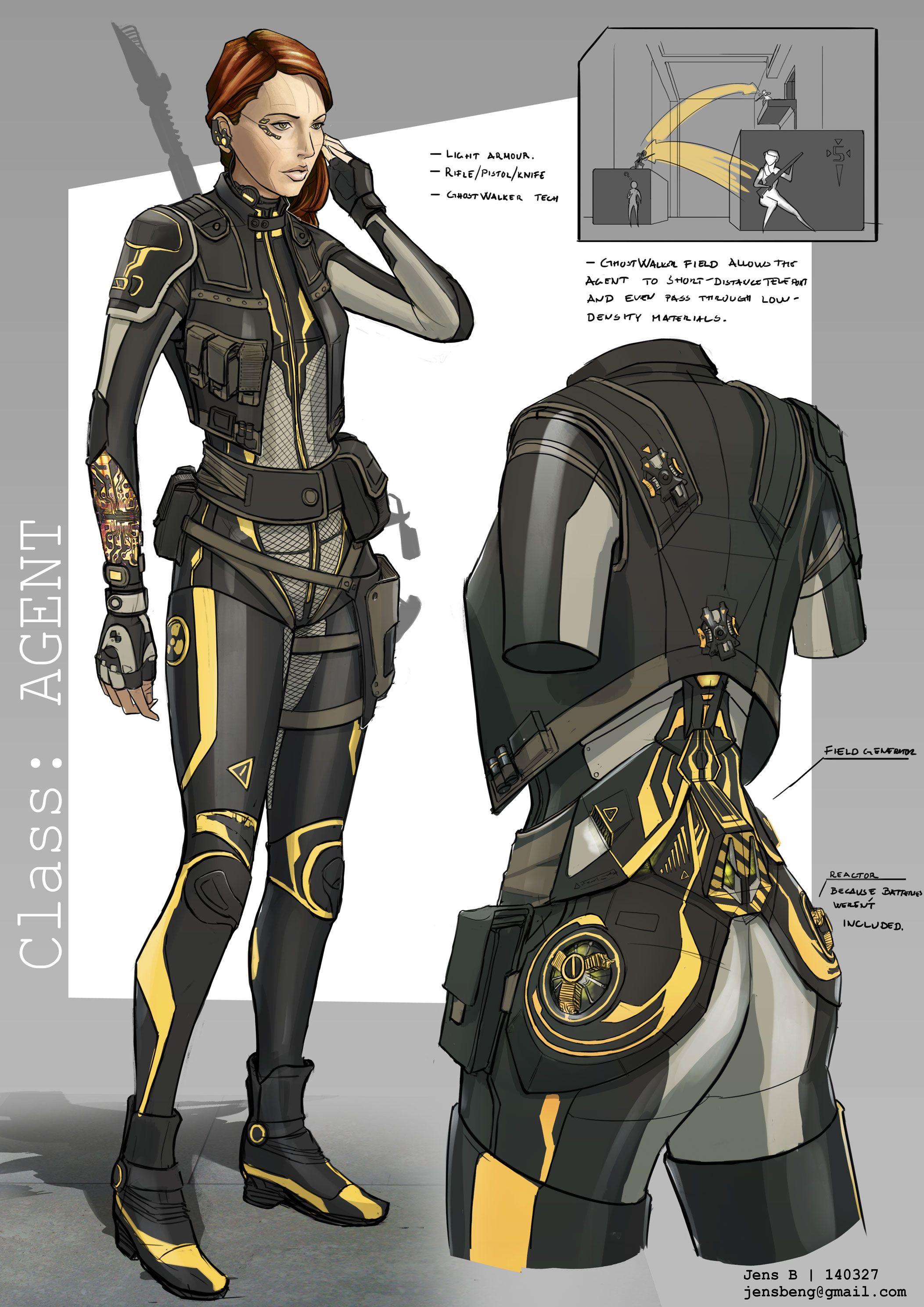 class agent by rubisko female armor bodysuit equipment gear magic