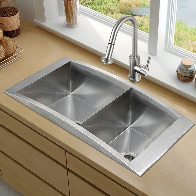 How to restore stainless steel kitchen sinks kitchen pinterest top mount stainless steel kitchen sink faucet and two strainers modern kitchen sinks new york vigo workwithnaturefo