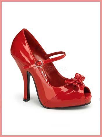Zapatos rojos vintage Pleaser para mujer qkijIaGXG