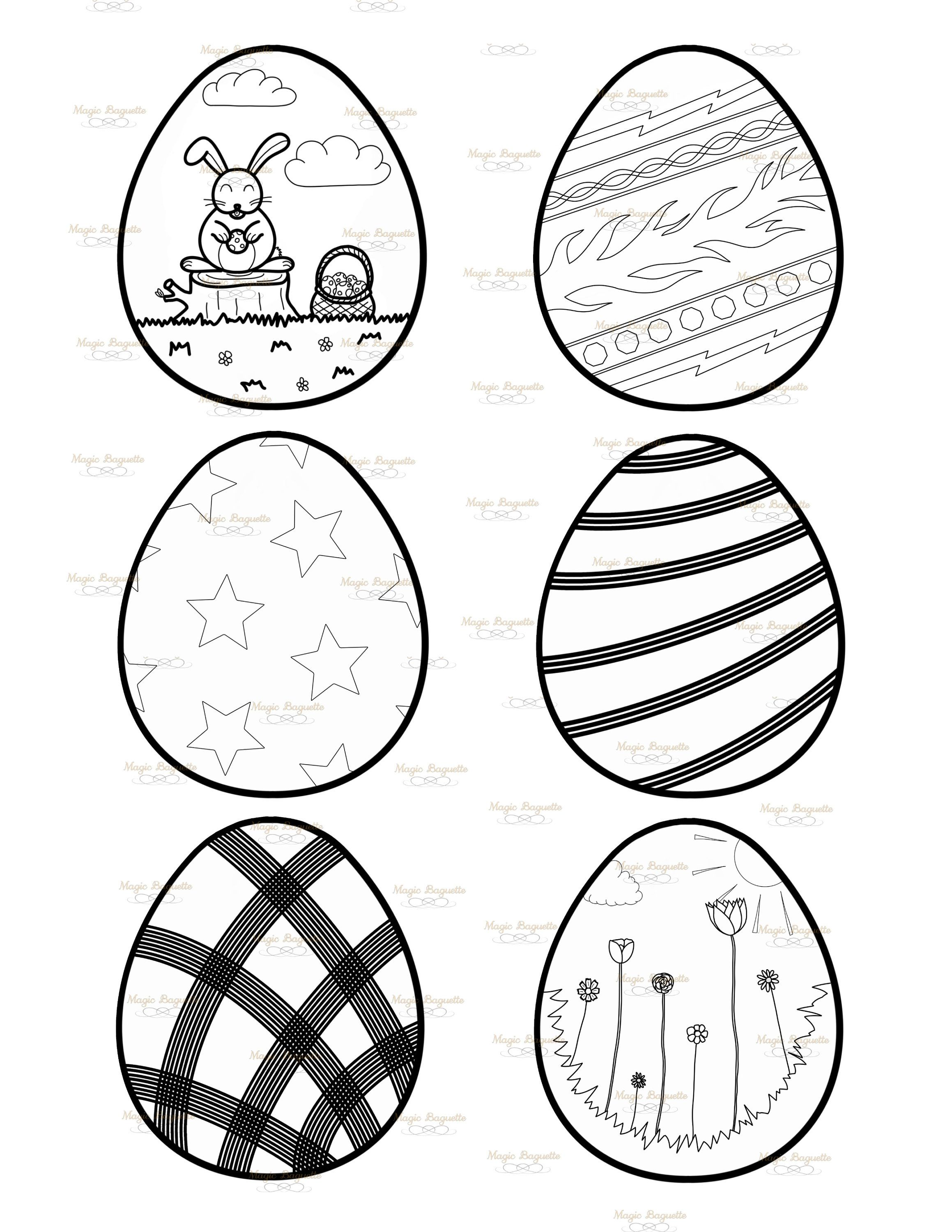 New Easter Eggs Coloring Page N 2 Coloring Sheet For Kids 8 5x11 Sheet 10x10 File For Each Egg In Png For Egg Hunt Stuck At Home In 2020