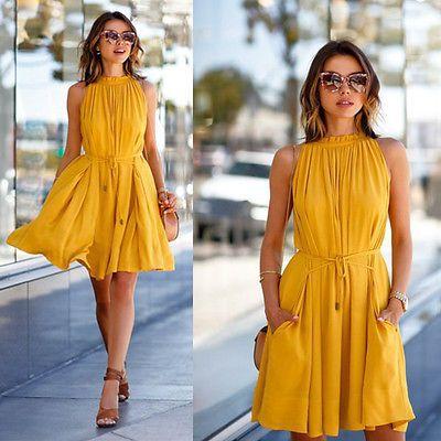 Sexy Women's Summer Sleeveless Evening Party Beach Dress Short Mini Dress