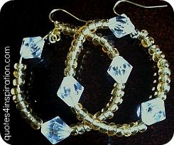Beaded hoop earrings. Gold glass seed beads and Bi-Cone clear beads. I love em'.