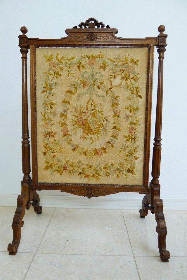 French Fire Screen French Antique Embroidered Fire Screen
