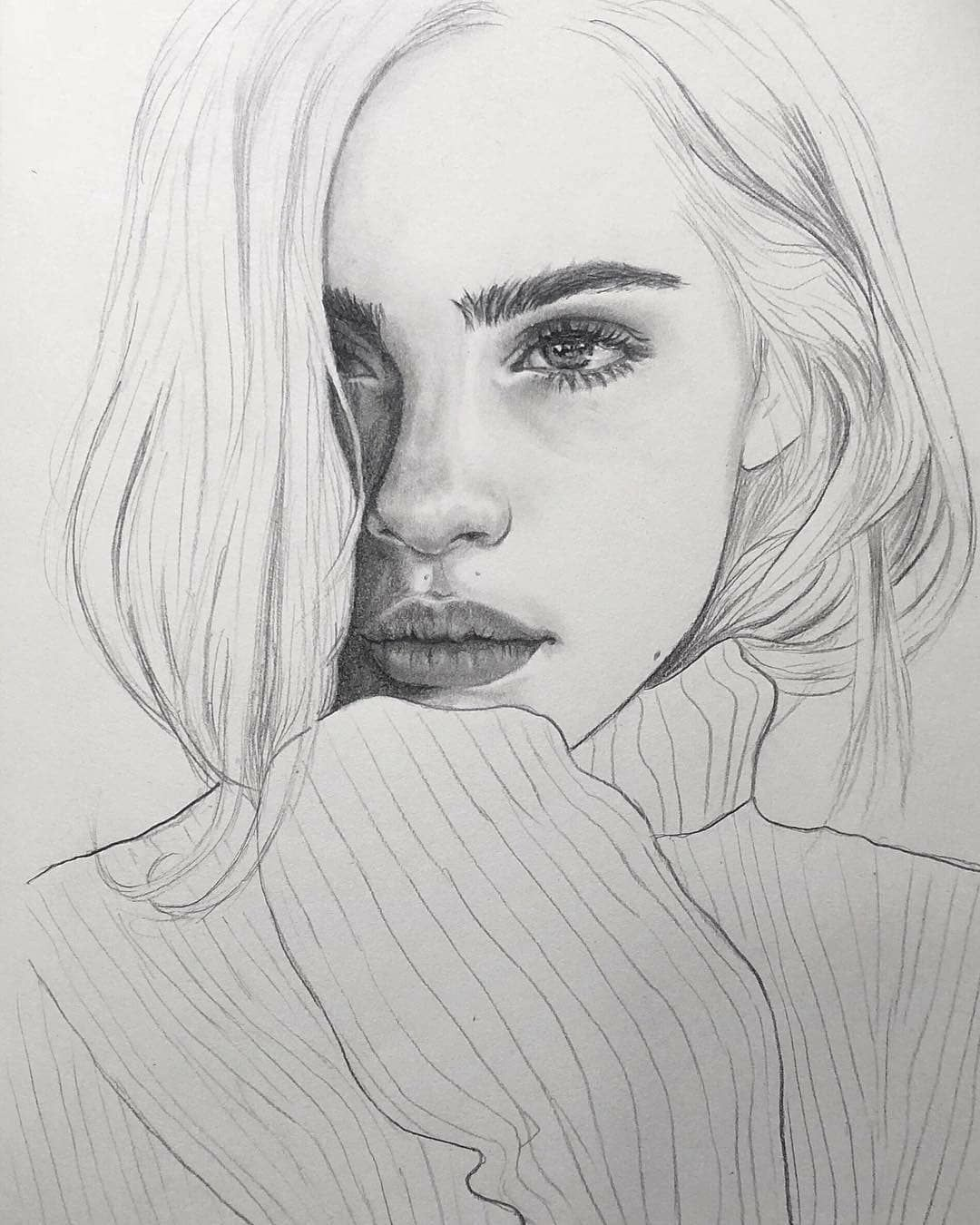Drawing of a realistic girl so beautiful art