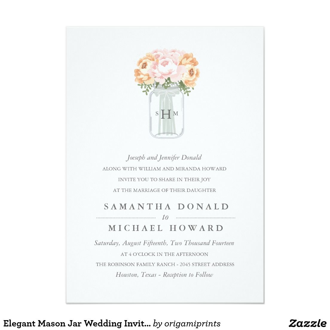 Elegant Mason Jar Wedding Invitations Mason Jar Wedding