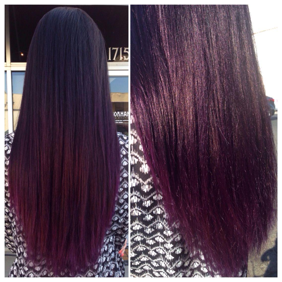 brown to dark violet ombr cheveux rouge acajou. Black Bedroom Furniture Sets. Home Design Ideas
