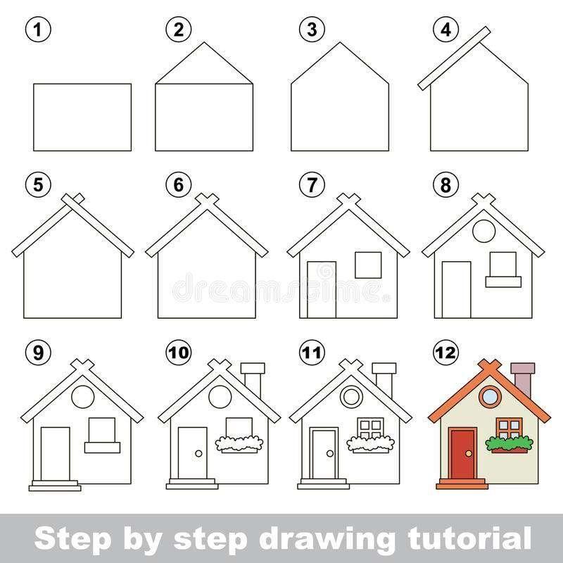 Cara Menggambar Rumah Toy House Drawings Royalty Free