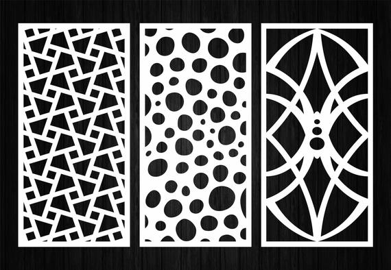 7 Decorative Art panel Room divider (Ai Dxf Svg Eps) Wall panels