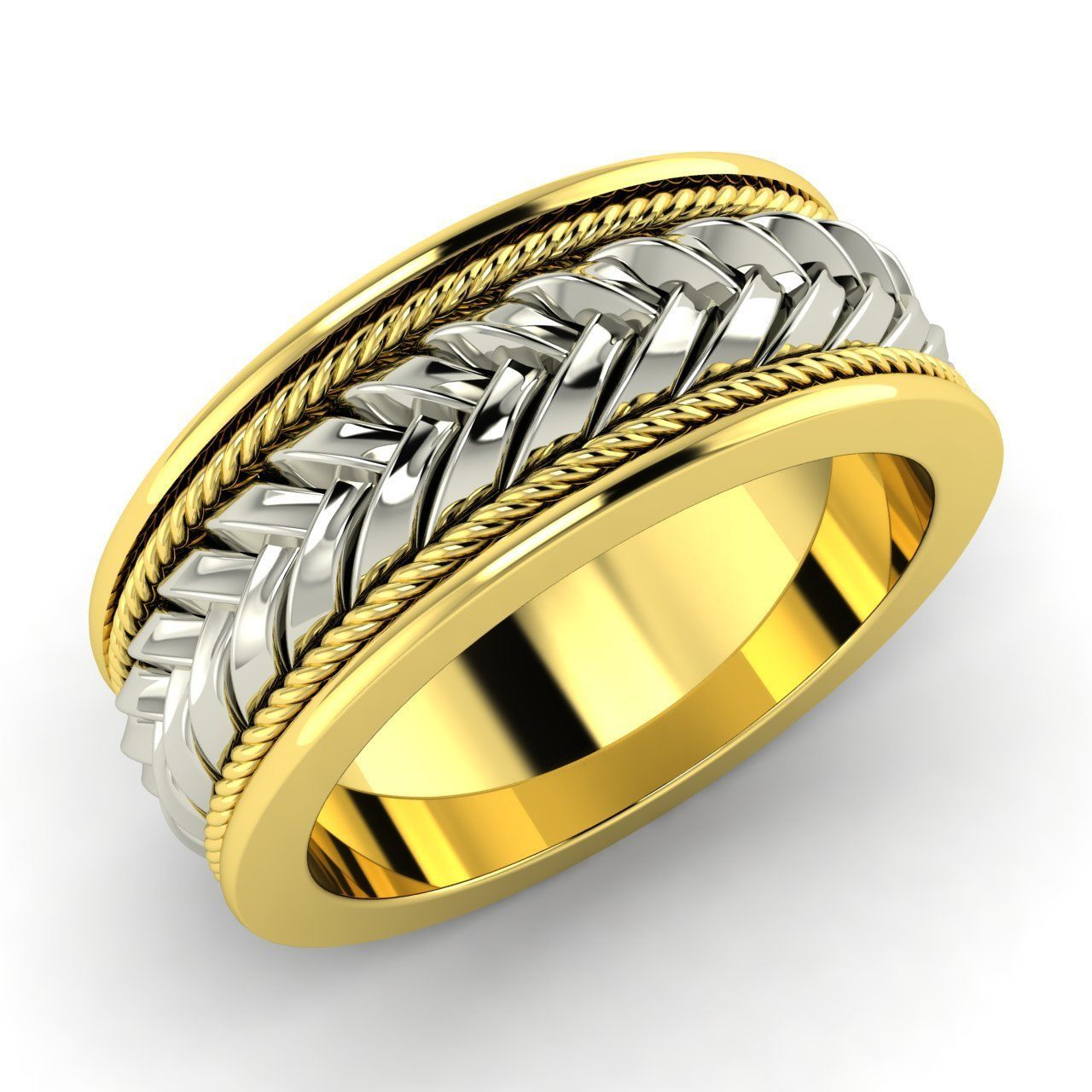 7 MM Braid Design Mens Engagement Wedding Band Ring in 14k Yellow