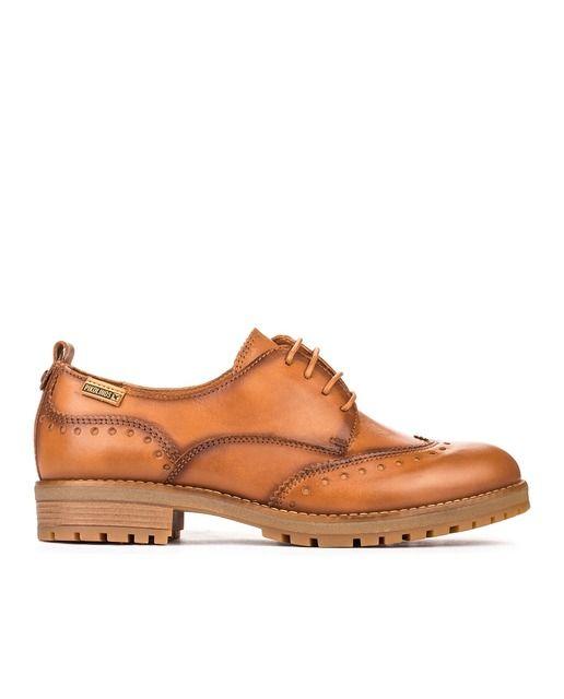 298518ddc42 Zapatos de cordones de mujer Pikolinos de piel vacuna marrones ...