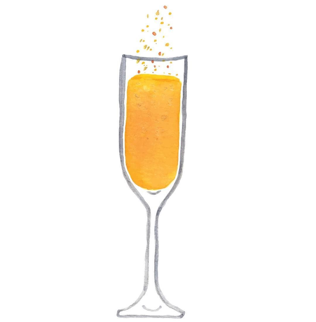 Mimosa Watercolor Orange Juice Champagne Bubbly Breakfast Brunch
