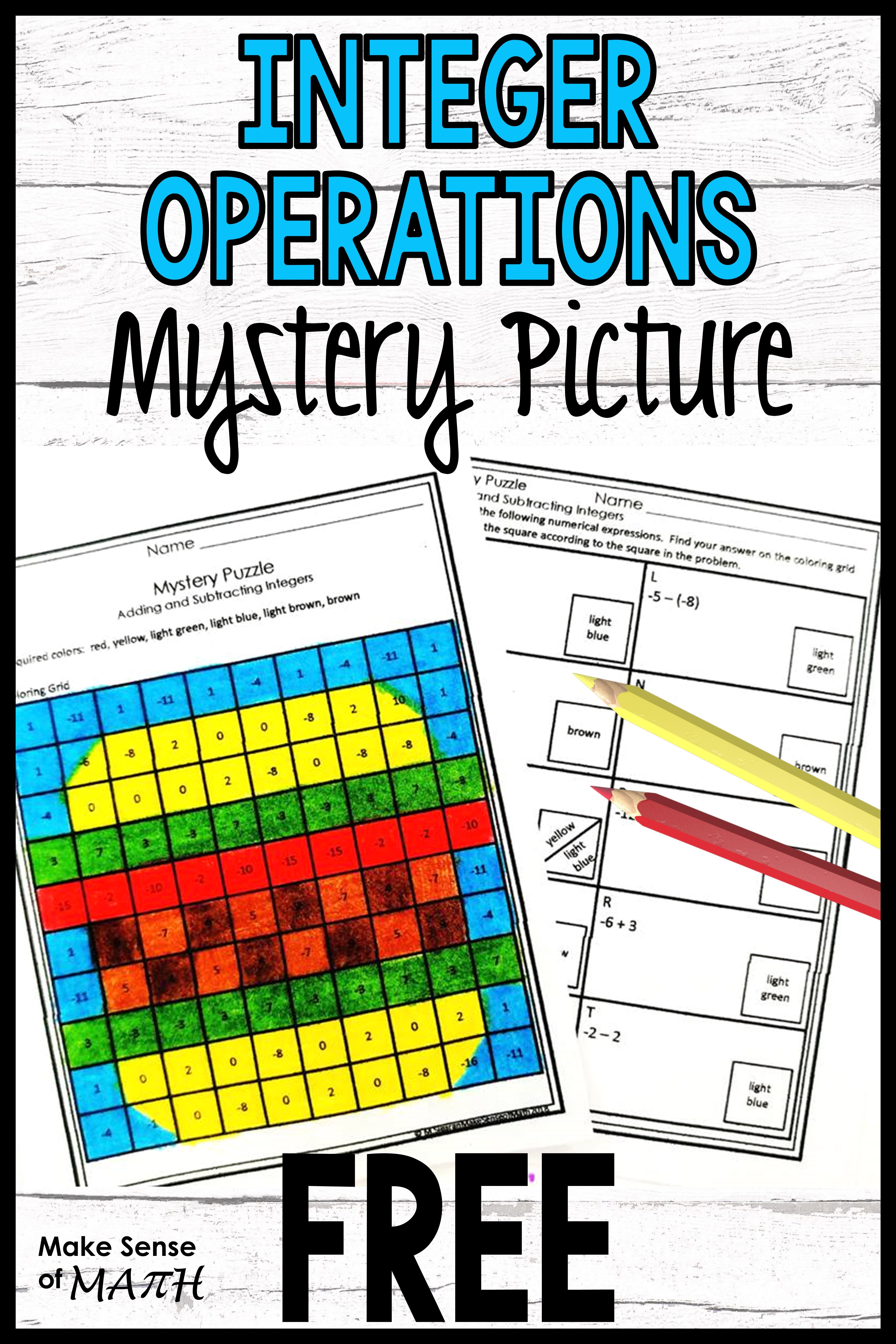 Adding And Subtracting Integers Free Maths Activities Middle School Math Activities Elementary Easy Math Activities Adding and subtracting integers fun