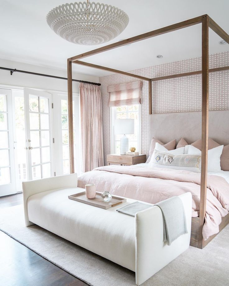 "Photo of Design Works on Instagram: ""I think it's safe to say, everyone blushes over this master bedroom. It's definitely fit for an angel 😇 @jastookes Check out the link in…"""