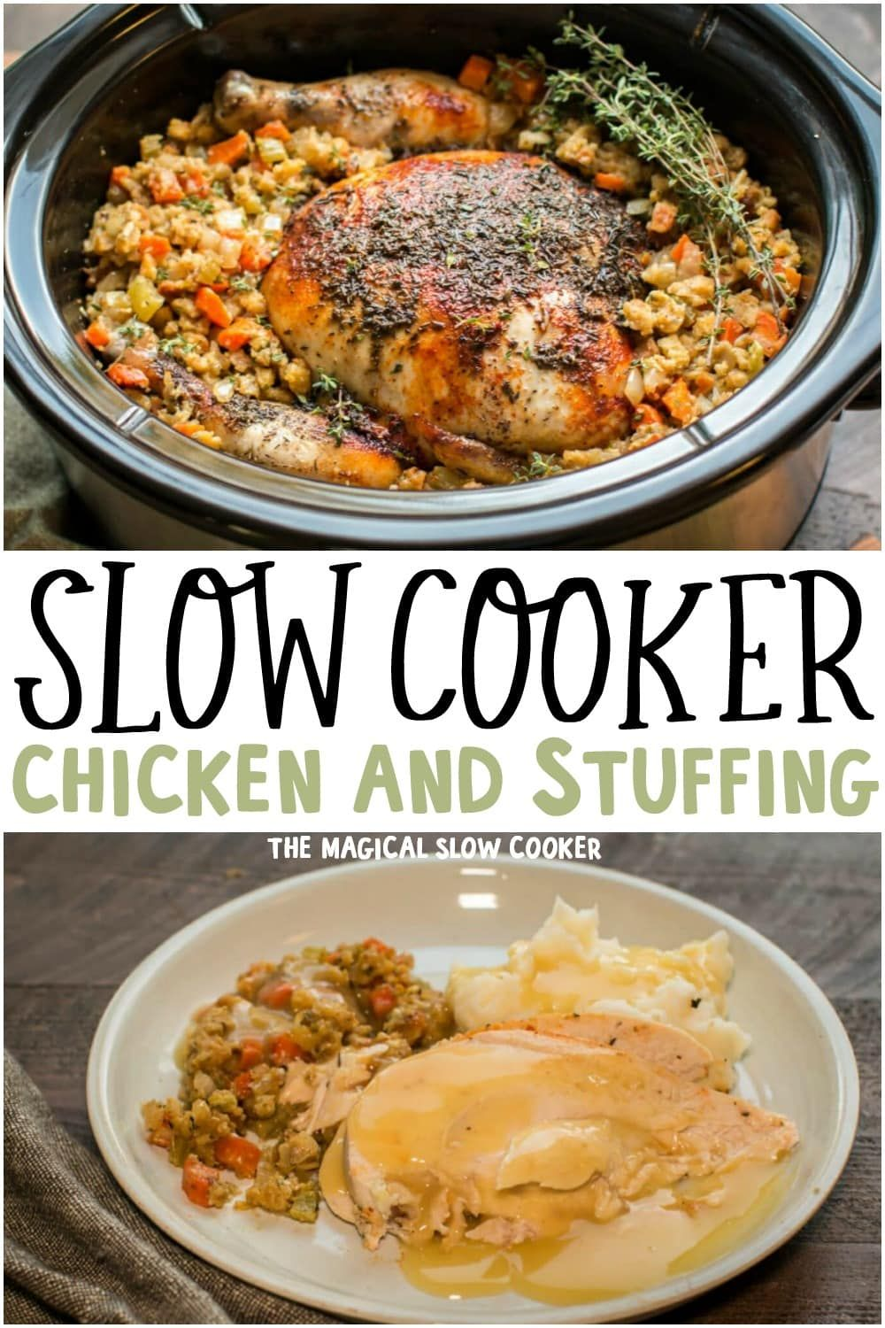 Photo of Slow Cooker Whole Chicken with Stuffing – The Magical Slow Cooker