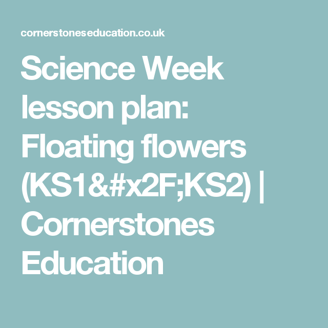 Science Week Lesson Plan: Floating Flowers (KS1/KS2