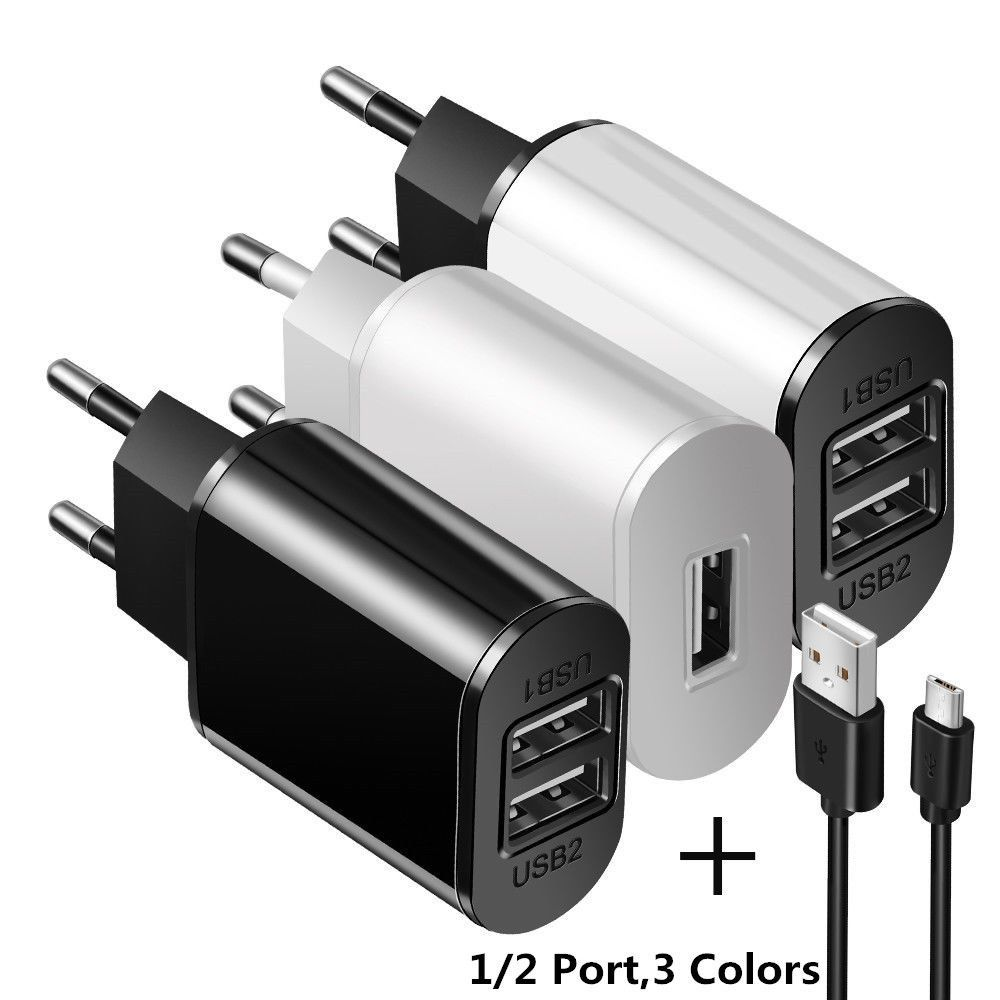 5v 2a Eu Dual Usb 2 Port Fast Charger Mobile Phone Wall Power Adapter For Iphone Portable Phone Charger Portable Usb Charger Iphone Cable