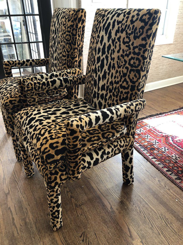 Modern Leopard Parsons Chairs A Pair On Chairish Com Chair
