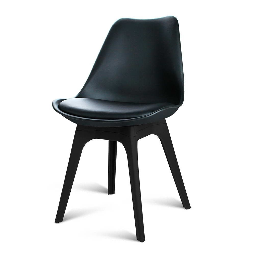 4 x replica eames eiffel dsw padded dining chairs for home cafe kitchen in beech pu black - Eames eiffel chair replica ...