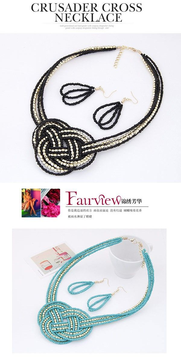 Misses Silver Color Beads Decorated Multilayer Weave Design Beads Jewelry Sets