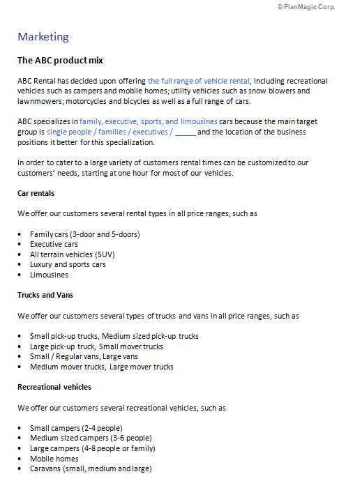 Vehicle Rental Car Rental Bicycle Rental Business Plan