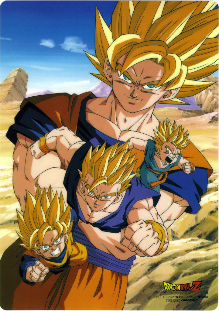 Ssj Goku Goten Gohan And Trunks Dragon Ball Z Dragon Ball Art Dragon Ball
