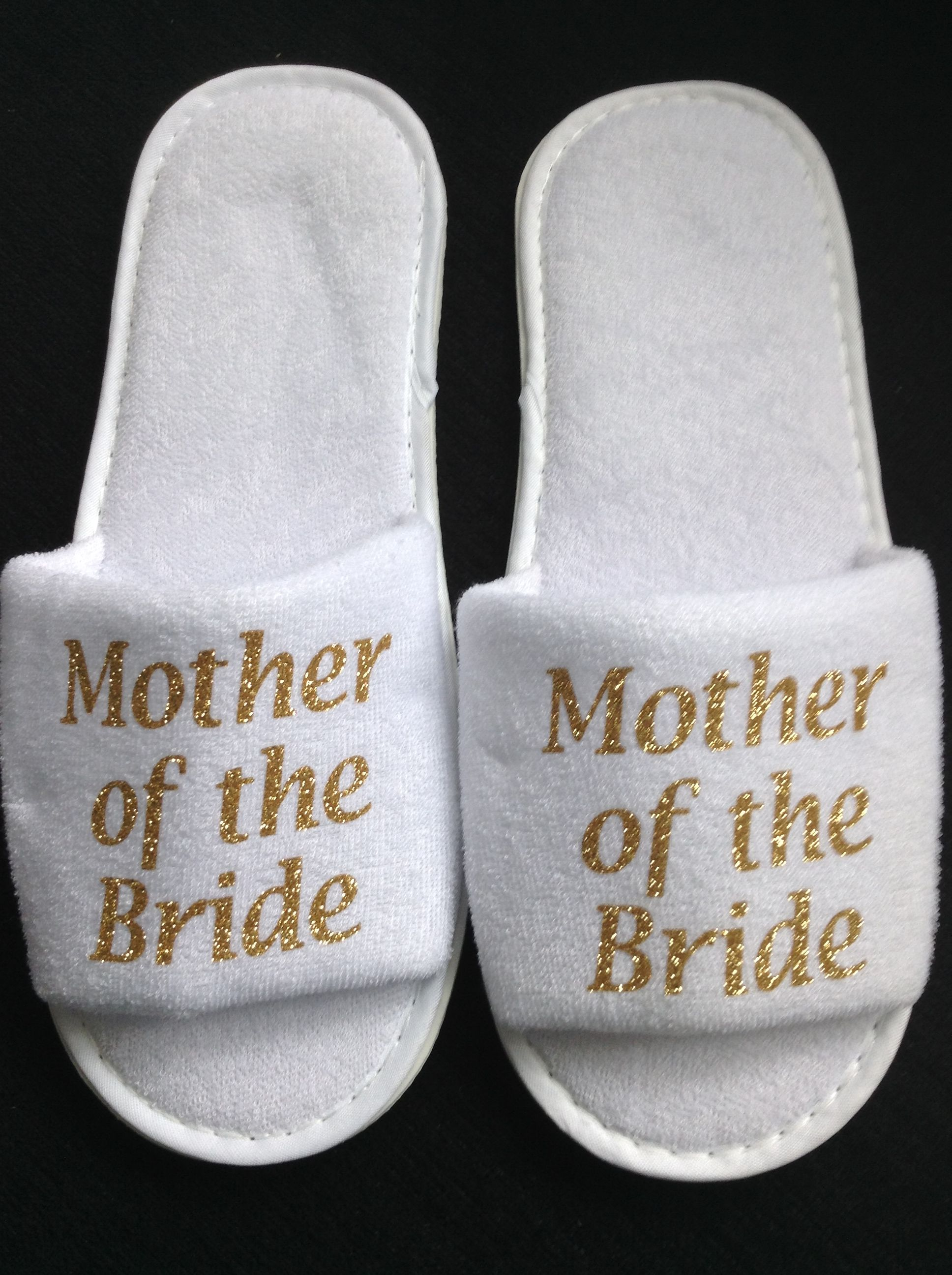 Mother Of The Bride Slippers Gift Wedding Guests Gold Sparkle