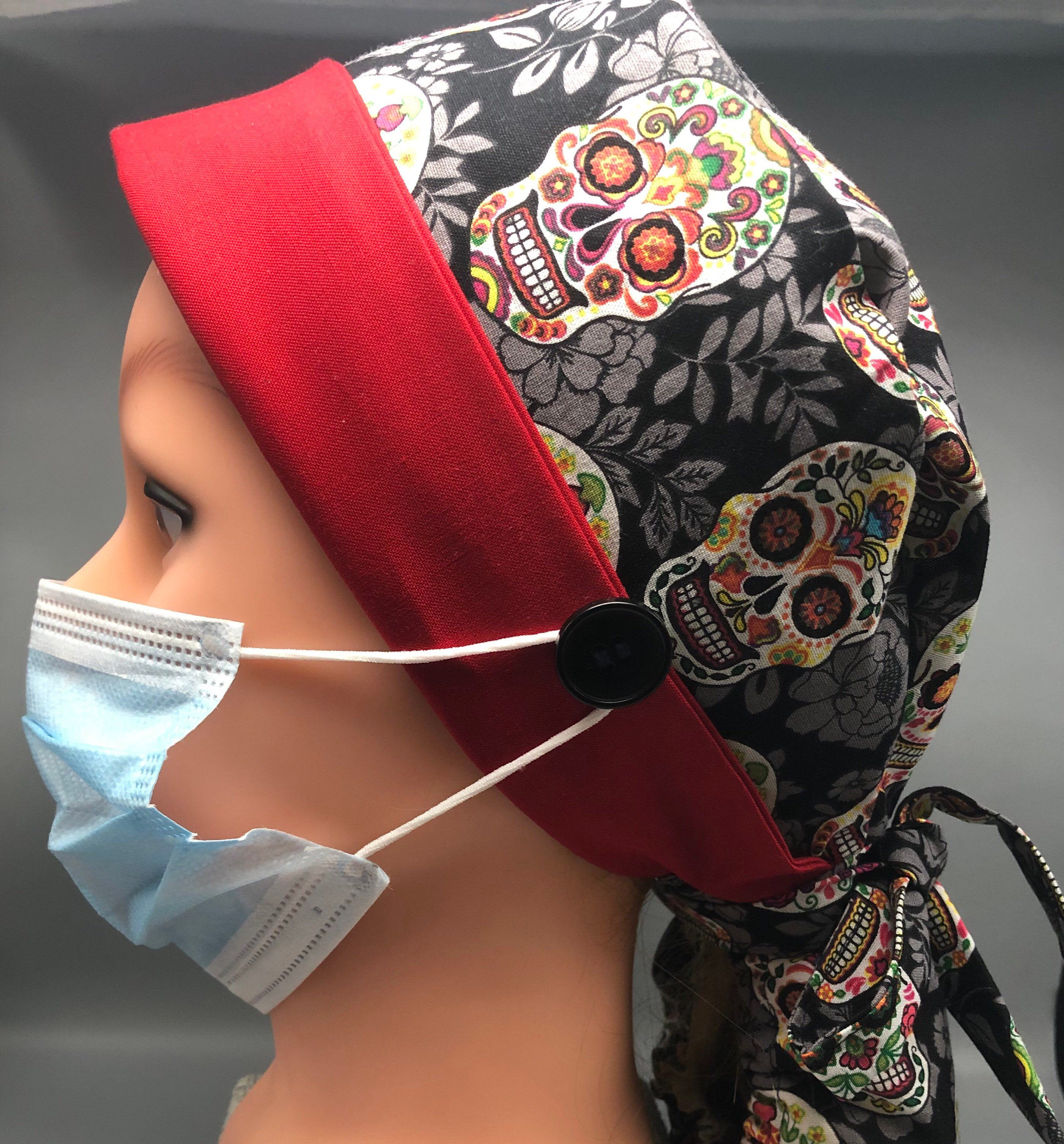 Sketched green floral scrub cap for long hair short hair bun scrub cap  women scrubhat with ties Gift wrap available. Ship today