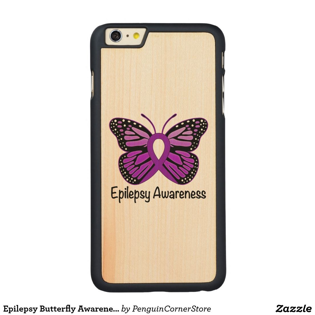 Epilepsy Butterfly Awareness Ribbon Carved Maple Iphone 6
