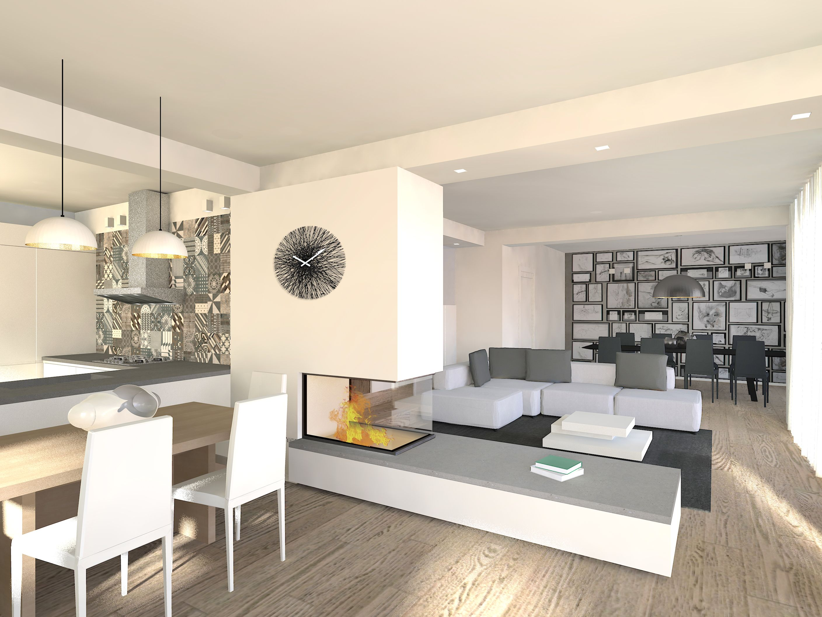 Caminetto Bifacciale Centro Stanza Flaviabenigniarchitetto Living Openspace Loftstyle Kitchen