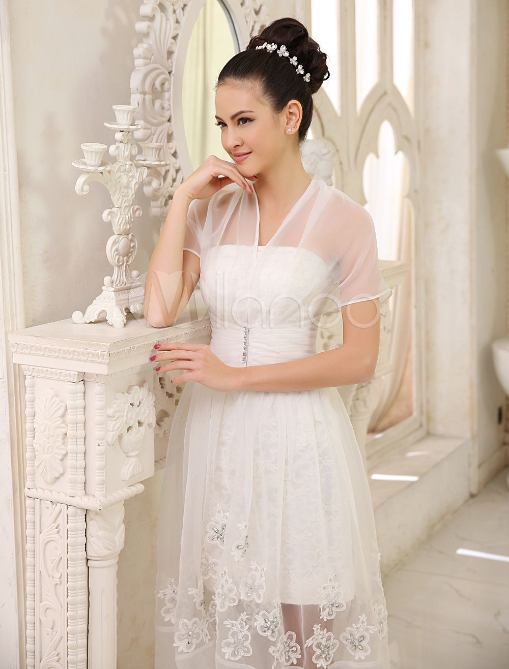 Short wedding reception dress  Short Ivory Bridal Wedding Dress with Strapless Neck and Sheath