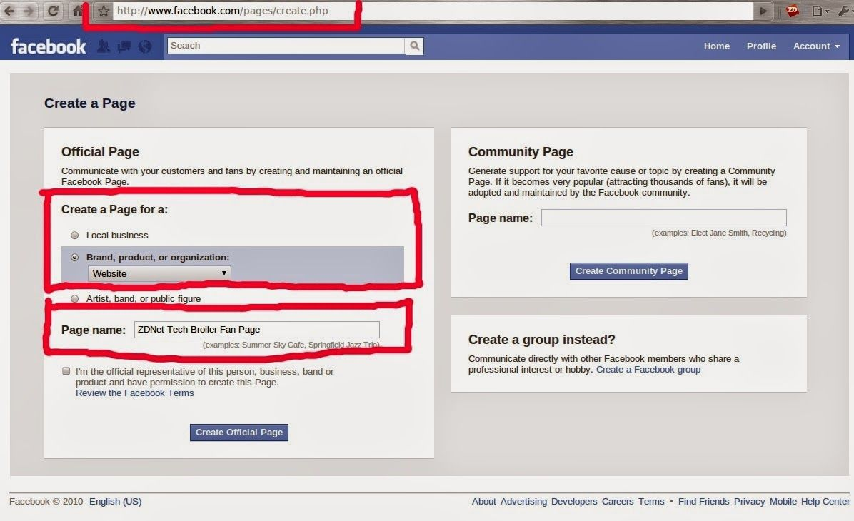 Create Page on Facebook | Technology | Create page