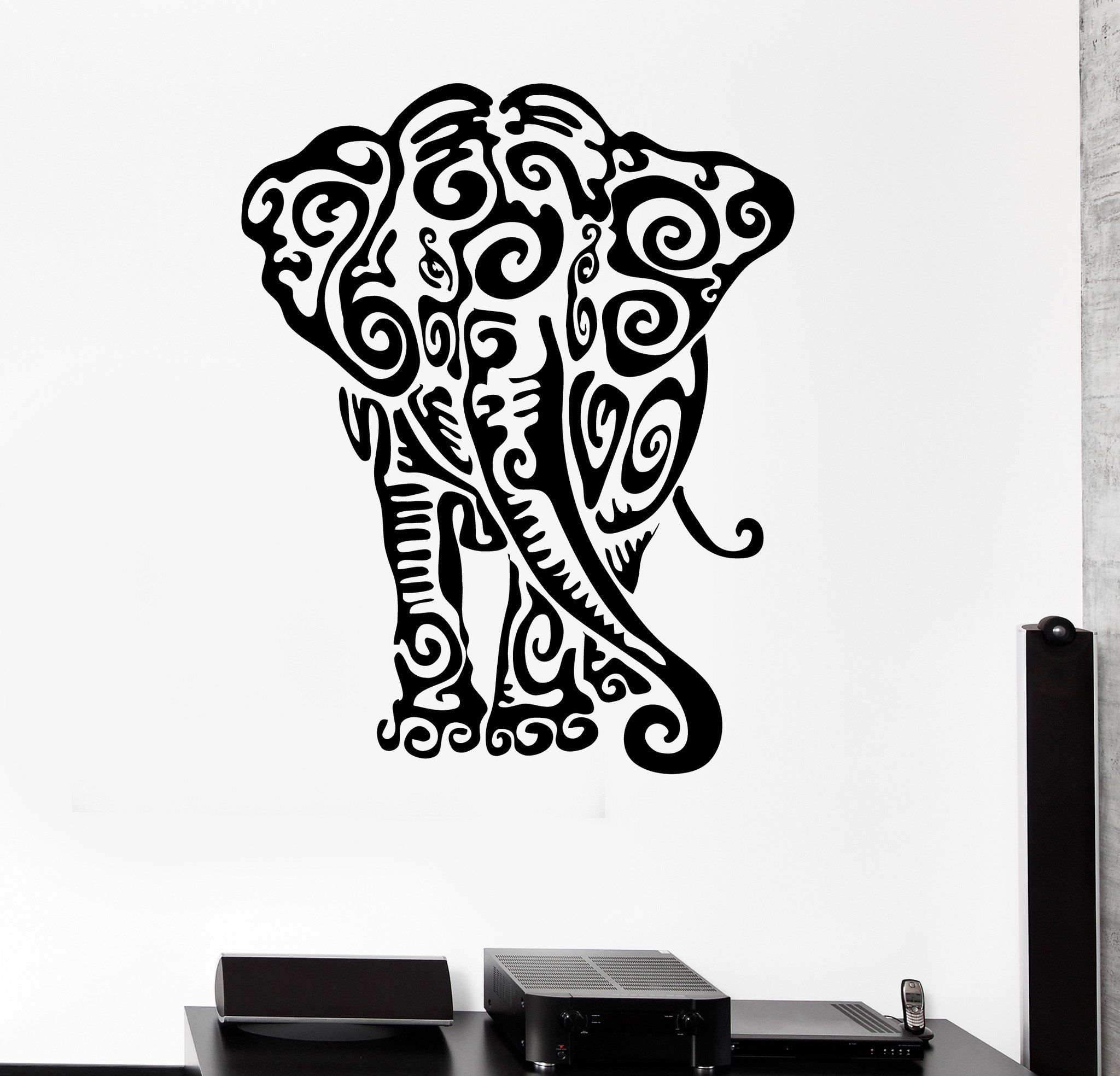 Wall Sticker Vinyl Decal Elephant Animal Pattern Tribal Nice Decor ...